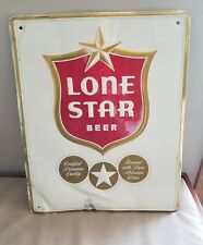 """ LONE STAR BEER"" TIN TYPE SELF FRAMED EMBOSSED METAL SIGN;20""L X 16""W"