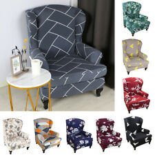 Floral Wing Back Chair Slipcover Elastic Armchair Sofa Cover Couch Seat Decor