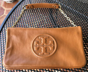 New TORY BURCH BOMBE REVA Clutch/Shoulder Camel Brown Color