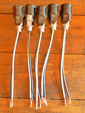Lot of 5 - Intermediate E-17 Base Keyless Lamp Holder Pre-Wired with Bracket NOS