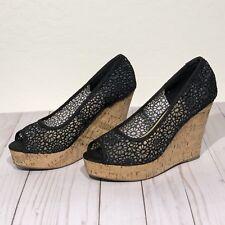 City Classified 9 Wedge Sandals Heels Black Espadrilles Cork Wedge Open Toe