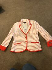 Conrad C Jacket Reddish Orange White Striped New Size 8 JY11247M
