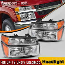 For 2004-2012 Chevy Colorado Pair Chrome Housing Amber Side Headlight/Lamp Set (Fits: Gmc)