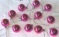 Miniature Ornaments Balls Rose Red Christmas Shatterproof, Shiny, Feather Tree