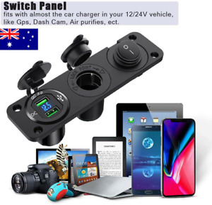12V Car Boat Cigarette Lighter Socket Dual USB Port Charger Mount Panel Charging