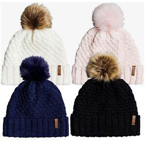 Women ROXY Blizzard Pom-Pom Beanie Polar Fleece Lined Band Cable Knit ERJHA03555