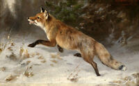 Wonderful Oil painting beautiful wild animals fox Looking for prey in landscape
