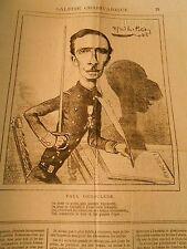 Caricature 1877 - Galerie Charivarique Paul Deroulède Plume Ombre