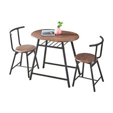 3-Piece Home Dining Set Log Color Table & 2 Chairs for Home Kitchen Dining Room