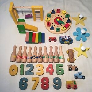 Wooden Toy Lot Toddler Numbers Clock Vtg. Cars Bowling Pins Daycare Preschool