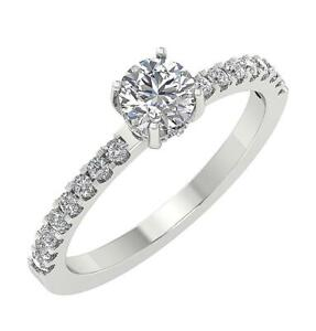 Solitaire Engagement Ring I1 G 0.91 Carat Genuine Diamond 14K White Gold RS 4-8