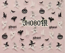 Halloween Black Bat Pumpkin White Ghost Silver Stud 3D Nail Art Sticker Decal