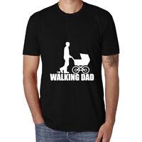 The Walking Dad Funny Man Cotton Men's T-shirt  Short Sleeve Tee White Black Top