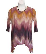 LOGO by Lori Goldstein Knit Top Size L 14 16 Tie Dye Hi-Low Hem Pockets Tunic