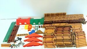 Lincoln Logs HUGE Lot 376 Pieces Roofs People Animals Doors Windows Chimneys