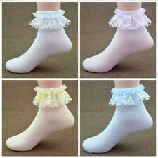 Kid Girls Ankle High Cute Lace Frilly Ruffle Cotton Princess Socks Big Bow White