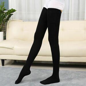 Women Girls Extra Long Boot Socks Over Knee Thigh High Warm Stocking Black/Gray