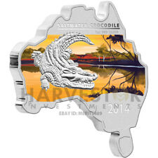 2014 AUSTRALIAN MAP SHAPED COIN - SALTWATER CROCODILE - 1 OZ. SILVER  ONLY 6000