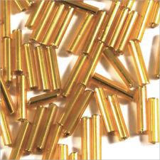 Perles de Rocailles Tubes en verre Trou argenté 9x2mm Doré 20g
