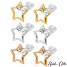 1 Paar Ohrstecker Sterne Strass-Stein Perle SET gold silber rosegold Ohrschmuck