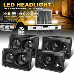 """New 4PCS 4x6"""" Inch LED Headlights For Kenworth W900 T800 T600A Peterbilt 378 379"""