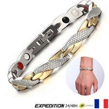 Bracelet magnétique Gris Doré Thérapeutique énergétique Bijoux Thérapie V6