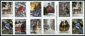 USA Christmas Stamps 2020 MNH Winter Scenes Birds Owls Horses 20v S/A Booklet