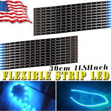 20X Ice Blue 30cm/15 LED Car Motor DRL Running Flexible Strip Light Waterproof