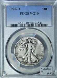 1920-D Walking Liberty Half Dollar PCGS VG-10; Looks F-VF