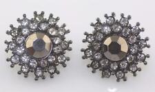 Avon SAQ gun metal black center clear stone cluster burst round post earrings