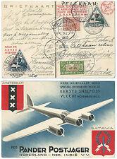 NETHERLANDS INDIES 1933 POSTCARD PELIKAAN FLIGHT 3 HOLLAND VALUES + 1 INDIES