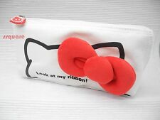 Sanrio Hello Kitty Red Ribbon Canvas Pencil Case Cosmetic Bag, Pink (9-4367-1)