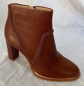 BNIB Clarks Ladies Ellis Betty Tan Leather Heeled Boots