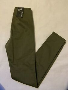 H&M Divided Super Skinny High Waist Ankle Grazer Trousers Khaki Army Green 8 NWT