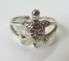 Sterling Silver Adjustable Toe Ring Turtle Design Solid 925 Oxidized Jewelry