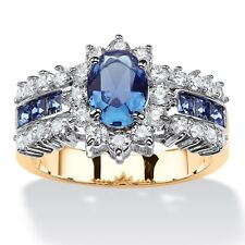 OVAL CUT SAPPHIRE BLUE CRYSTAL AND WHITE CZ 14K GOLD GP RING SIZE 6 7 8 9 10