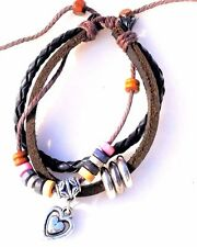 Leather Rope Wrist Bead Charm Friendship Bracelet - Heart - Fashion Jewellery