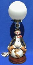 Vintage 1982 Albert Price Ceramic CLOWN on Top of the World Table Lamp #5197