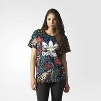 adidas Originals Womens Floral Allover Print Boyfriend Trefoil Tee   AY8403