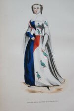 GRAVURE-SUIVANTE DAUPHINE D'AUVERGNE-COSTUMES MOYEN AGE 1847-ANTIQUE  PRINT