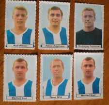6 Sicker Karten Briefmarken Hertha BSC Berlin 1967/68 (ungeklebt) Bergmann Top