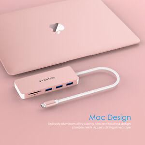 LENTION USB-C Hub Type C to USB 3.0 SD Card Reader Adapter Fr 2019 MacBook Dell