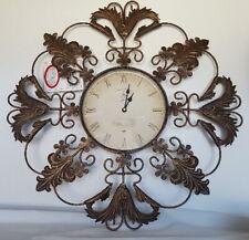 """Wall Clock, Metal Fancy Leaf Design, 24"""""""
