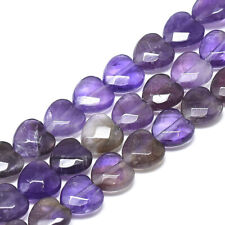 20pc Natural Amethyst Faceted Heart Beads Smooth Stone Loose Spacer Bead 10x10mm