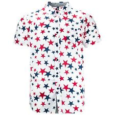 NEW Men Button Down Stars Short Sleeve Shirt Collar Fashion Sizes S-2X Star