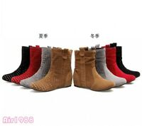 Womens Summer Ankle Boots Hollow Out Slip On Faux Suede Casual Shoes Plus Size