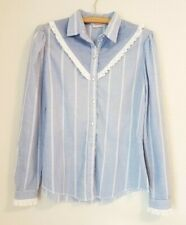 Vintage H Bar C Blue & White Pin Stripe Lace Western Pearl Snap Shirt Size S