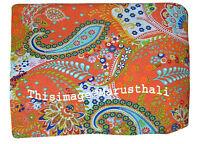 Indian Jaipur Paisley Kantha Printed Yards Fabric Natural Pure Sanganeri Screen