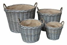 Wicker Log Basket Hessian Lined round storage Basket Kindling Home Storage Gift