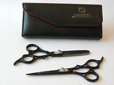 "6.5"" Professional Hair Cutting Scissors & Thinning Shears Salon Set Matte Black"
